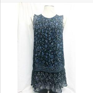 Joie • blue flower ruffle blue sleeve 100% silk